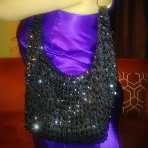 Bags - Black sequined shoulder bag sparkly purse